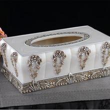 Baroque relief creative tissue box European high-grade resin retro queen pumping tray Home Decoration furnishings