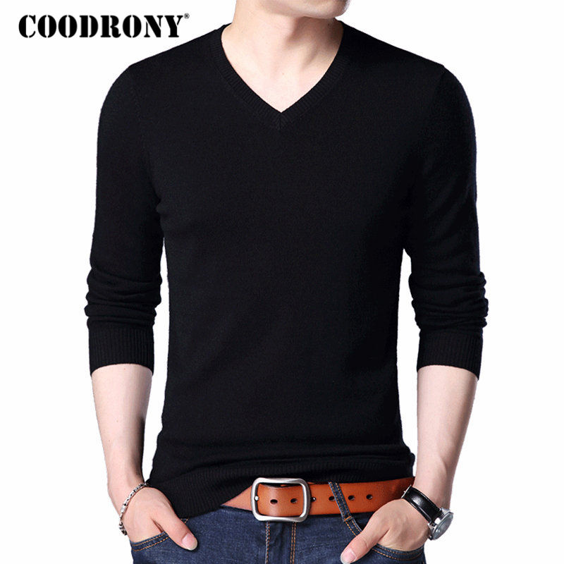 COODRONY Merino Wool Sweater Men Casual Classic V-Neck Pull Homme 2018 Winter New Arrival Men's Pullover Sweaters Multicolor 309
