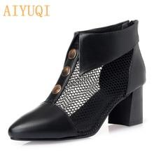 Купить с кэшбэком AIYUQI Summer women's mesh sandals 2019 spring new genuine leather high heel women sandals, fashion rhinestone dress shoes women