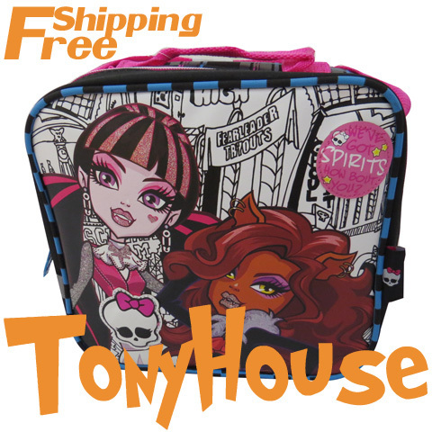 Hot-selling 2013 Brand Kids Girl's Oxford Casual Messenger Bags Cartoon Monster High Spiderman Fashion Lunch Bags Free Shipping