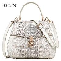 OLN 2018 Luxury Designer 100% Genuine Crocodile Skin Leather Women's Totes Handbag Leather Ladies Single Cross Shoulder Bag