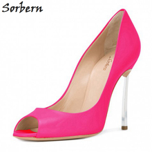 Sorbern Peep Toe Pumps Shoes Women Metal Stilettos Heeled Shoes Ladies Classic Pumps Female Shoes Size 34-46 Custom Color