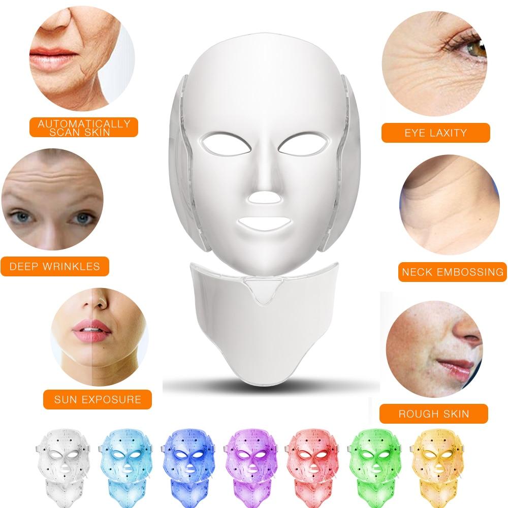 7 colori di Luce LED Maschera Per il Viso Con Trattamento di Bellezza di Cura di Pelle del Collo Ringiovanimento Viso Anti Acne Terapia Sbiancamento Strumento