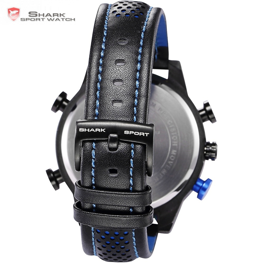 Kitefin requin Sport montre marque bleu extérieur randonnée numérique LED montres électroniques calendrier alarme bande de cuir hommes horloge/SH265 - 6