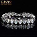 Romantic Women CZ Imitation Diamond Bracelet Round Oval Cut Cubic Zirconia Stones Wedding Party Jewelry CB181
