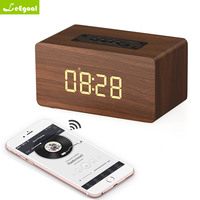 leegoal Wooden Wireless Bluetooth Speaker Portable HiFi Speakers Shock Bass Alarm Clock TF AUX caixa de som Soundbar Sound Box