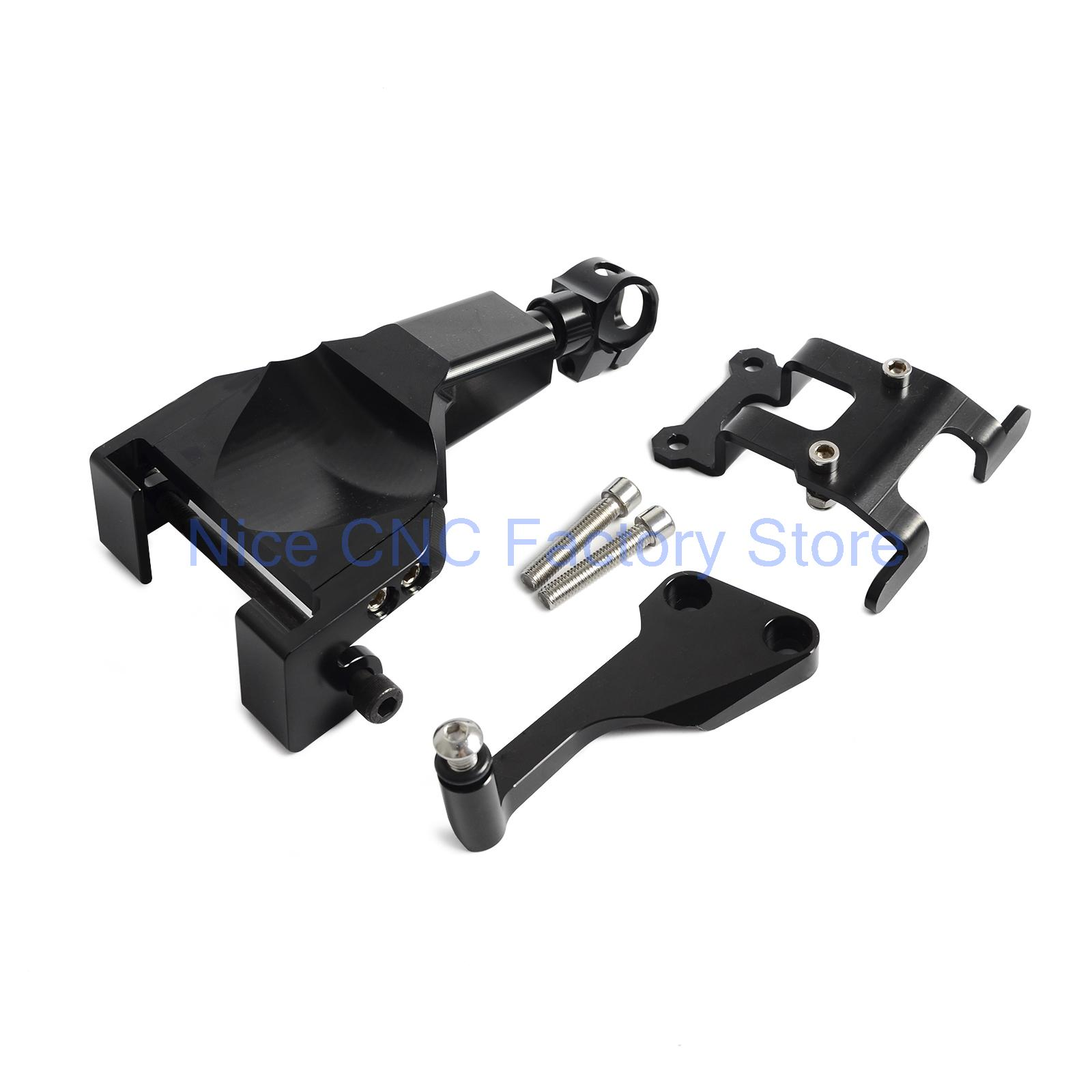 Black Motorcycle Stablizer Damper Mounting Bracket Kit For Yamaha MT-07 MT07 MOTO CAGE 2014 2015 2016 for yamaha mt 03 2015 2016 mt 25 2015 2016 mobile phone navigation bracket