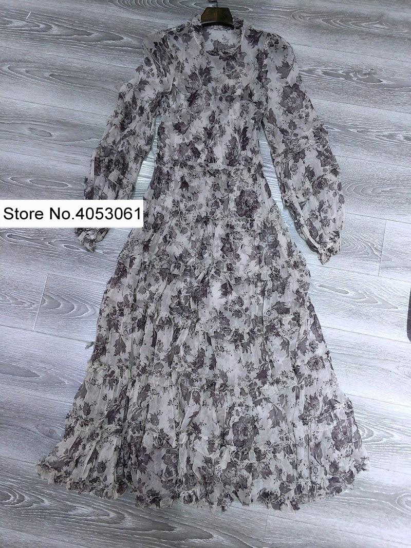 Juno Et Soie Longue amp; Volants Gamme D'âge Midi Imprimer Haut Batik Slip Robe Caractéristiques Avec Ourlet Pic Gradins Ondulé As Floral Panneau Col De twOSqXx