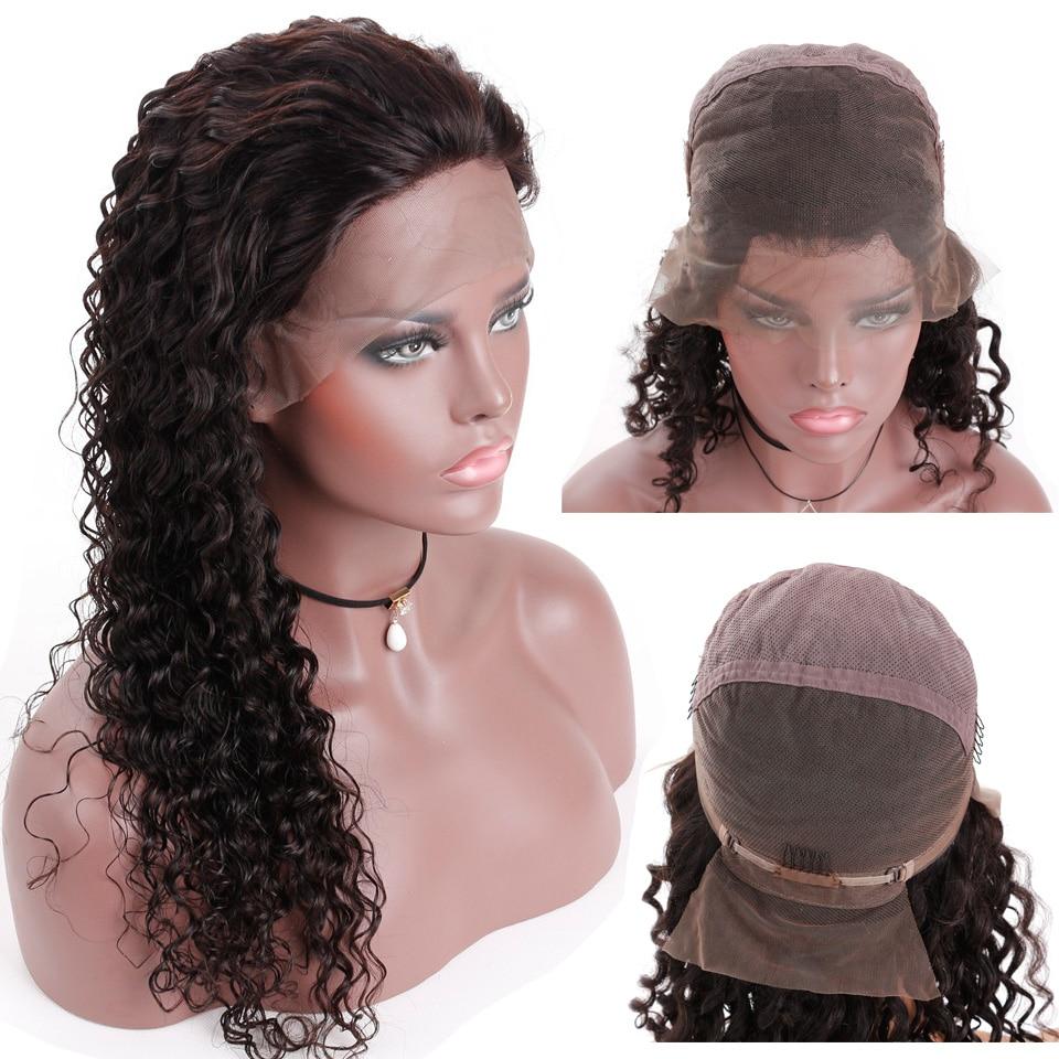 Smoora 10 26 бразильский Full Lace парики человеческих волос с для волос Реми глубокая волна полный парик для для женщин отбеленные узлы 130 Плотность