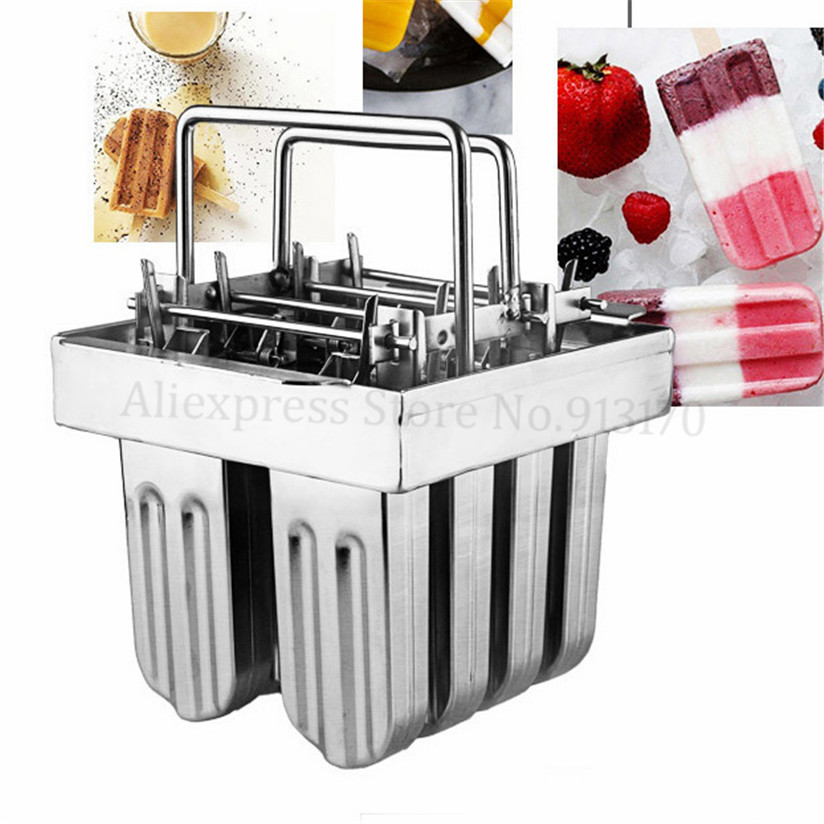 Ice-lolly Mold DIY Popsicle Mould 8pcs in One Set Durabe Stainless Steel with Stick Holder 6 Types Option silicone round diy ice mold with 6 grids