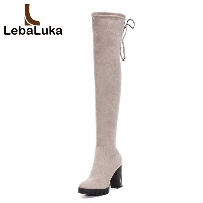 cf9008e4be13 Plate Sangle Chaussures Lebaluka Croix Taille forme Réel gris En Genou  Bottes Botas Femme D hiver 33 Hauts Talons Femmes Cuir ...