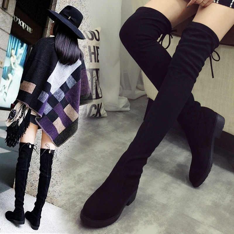 Phụ nữ đôi giày Mới Over The Knee Đùi Cao Màu Đen Khởi Động Phụ Nữ Căn Hộ Dài Khởi Động Thấp Gót Da lộn Da Giày EUR35-41