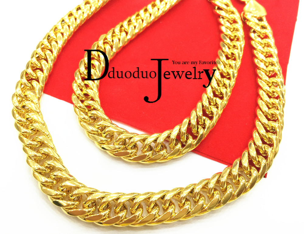 Real Heavy Men's Gold-Color FINISH THICK MIAMI CUBAN LINK NECKLACE CHAIN 11mm 118G 60CM