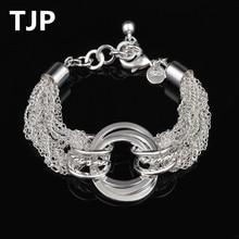 TJP 2018 Hot Sale Female Bangles Party Jewelry Fashion Silver 925 Bracelets For Women Luxury Girl Lady Birthday Gift Wholesale цена и фото
