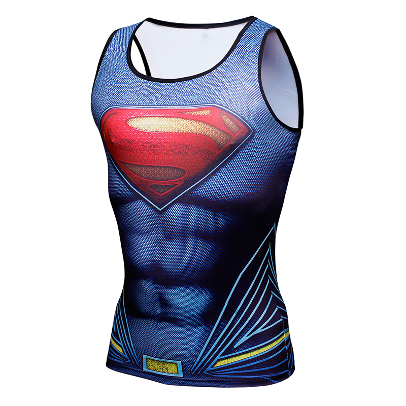 Compression shirt batman vs superman 3d printed tank top men gymshark bodybuilding and fitness men s