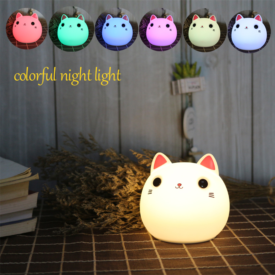 Touch Cat Led Night Light Silicone Baby Children Kids Gift Animal Bedside Desk Table Lamp Decoration for Bedroom Living Room ball led night light projector usb rechargeable atmosphere desk table lamp for children baby kids gift bedside bedroom sleeping