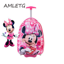 2018 New Girl 16 Inch Cartoon Children's Rolling Suitcase Children's Suitcase Boy Princess Mickey ABS Trolley Case Boarding Box недорого