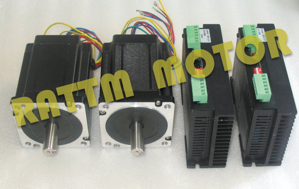 2 Axis Nema 34 Stepper Motor 116mm/ 1230oz-in/5.0A & Driver 6A/80VDC 256 Microstep 4axis nema 34 1230oz in 5 0a stepper motor