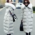Женская вниз парки зимнее пальто утолщение беременна вниз пальто меховой воротник длинный тонкий более-колено дизайн материнства вниз пальто