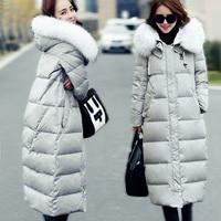 Women's down parkas winter coat thickening pregnant down coat fur collar long slim over-the-knee design maternity down coat
