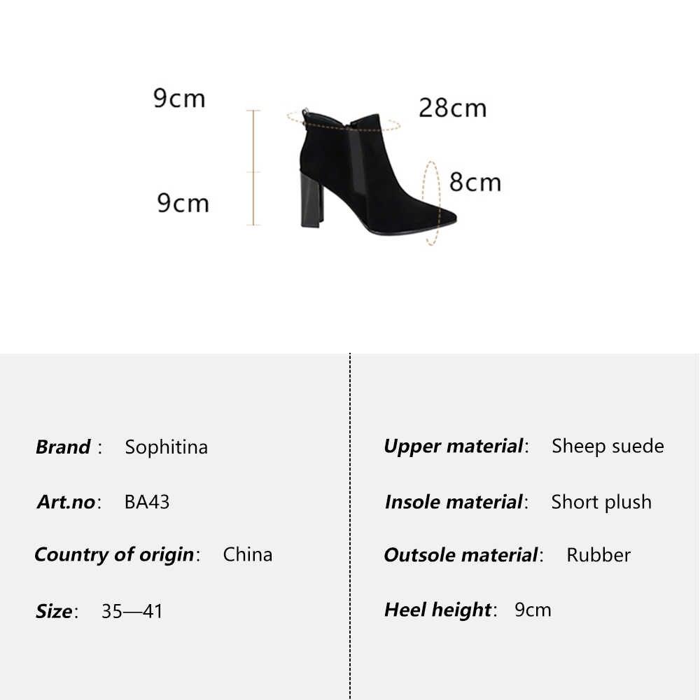 SOPHITINA Moda yarım çizmeler Hakiki Deri Sonbahar Yüksek Topuk Kadın Ayakkabı Seksi Sivri Burun Basit Tasarım Sıcak Kış Botları BA43