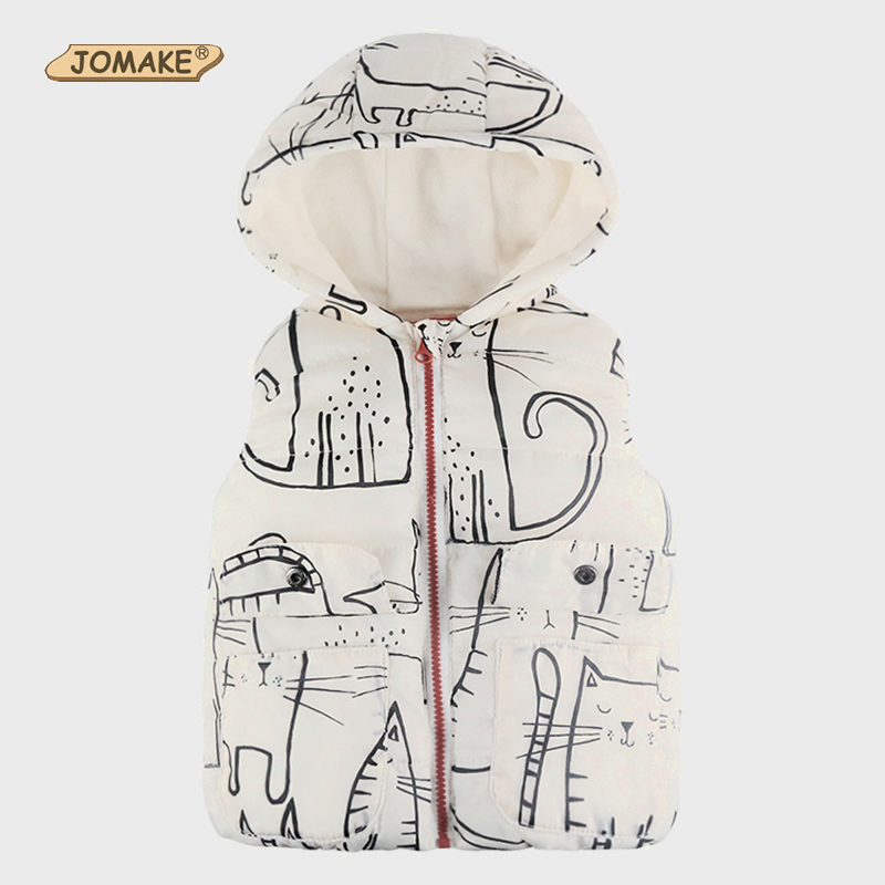 Cartoon Cat Kids Vests Winter 2017 Children Hooded Waistcoat Cute Baby Clothes Thick Warm Kids Outerwear & Coats Boys/Girls Vest