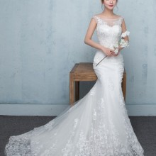 cecelle robe de marie Lace Mermaid Wedding Dress Sleeveless