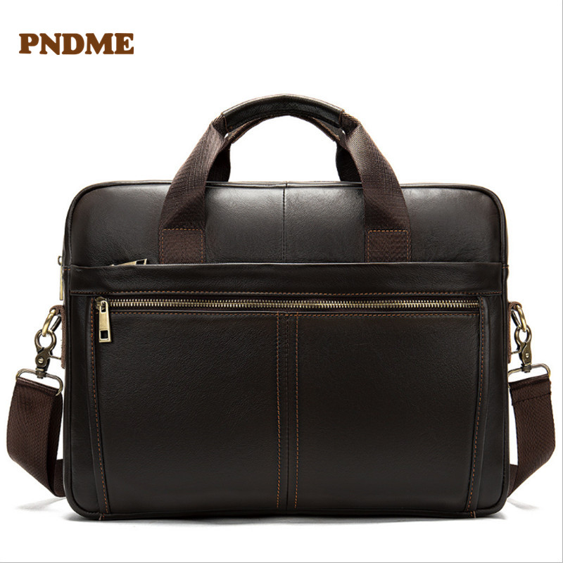 PNDME Top Layer Cowhide Men's Briefcase Retro Business Casual Office Soft Genuine Leather Luxury Laptop Shoulder Messenger Bag
