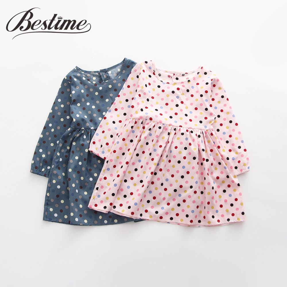2018 Autumn Children Dress Polka Dot Kids Dresses for Girls Cotton Long Sleeve Girl Dress Cute Girls Clothes 3-7y menoea 2017 new girl dress autumn bow princess dress children clothes dot long sleeve 2 colors dresses 1pcs retail