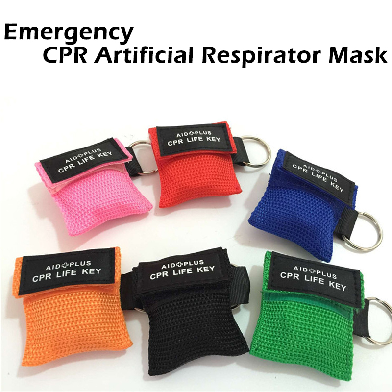5pcs /lot CPR Emergency Resuscitator Mask Keychain Emergency Face Shield First Aid CPR Mask For Health Survival Tools Wholesale