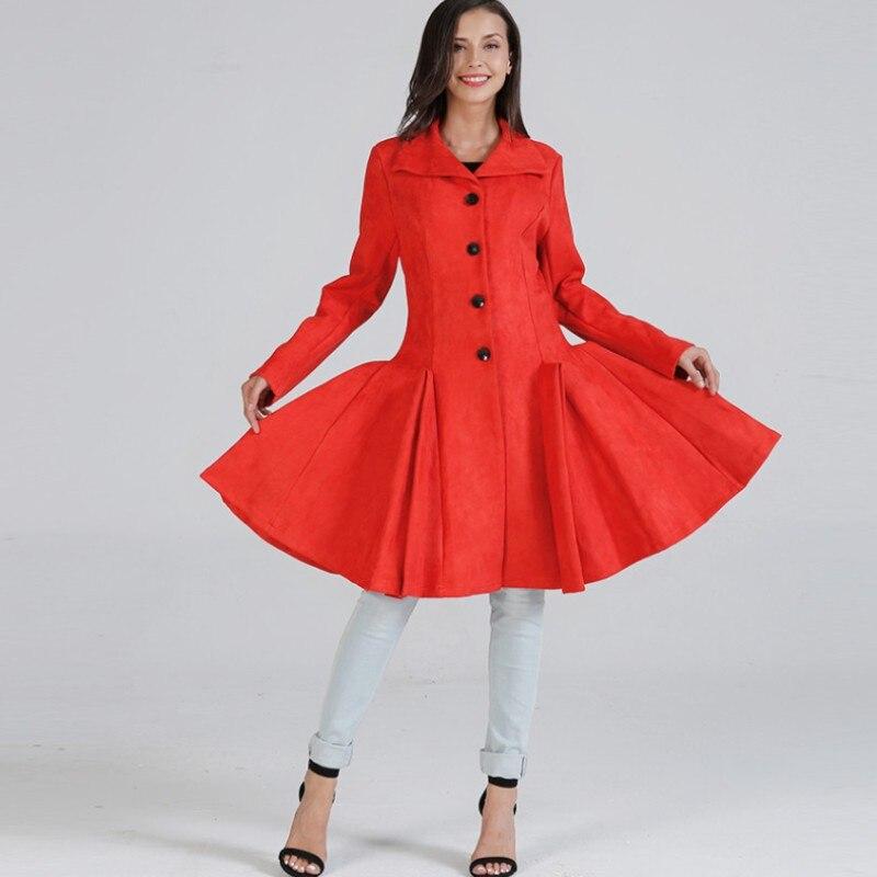 YSMARKET rouge hiver chaud Trench femmes vêtements Fit et Flare manteau en laine grand Swing épais manteau à manches longues simple boutonnage