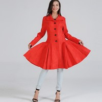 YSMARKET Red Winter Warm Trench Womens Clothing Fit and Flare Woolen Coat Large Swing Thick Coat Long Sleeve Single Breasted