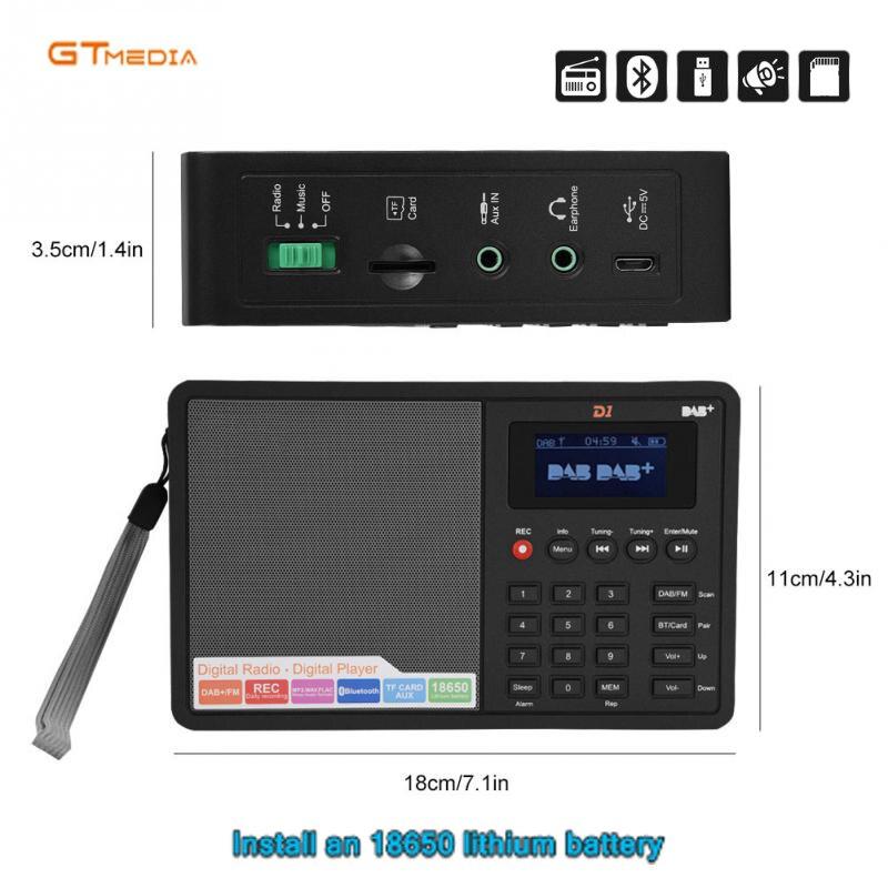 Gtmedia d1 rádio portátil fm dab estéreo/rds multi banda de rádio alto-falante com display lcd despertador suporte micro sd tf cartão