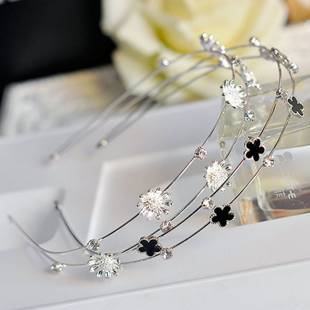 Fashion Women Headband Rhinestone Pearl Flowers Crystal Headband Head Piece Hair Hoop Wedding Party   Headwear   Ornament