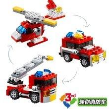 Decool 3102 Cidade Criador Mudou 3 em 1 Mini Helicóptero Fogo no Motor Do Carro Figura Brinquedos de Blocos de Construção Compatíveis Com Legoings