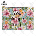 Your image photo Print Custom Canvas High Quality Pattern Print Cosmetic Bag Makeup Pouch Wristlet Hand Bag