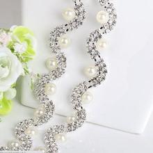 1Yard Pearl Rhinestone Applique Bridal Accessories Crystal Trim Wedding Dress Sash Belt Headband Jewelry AIWUJIA