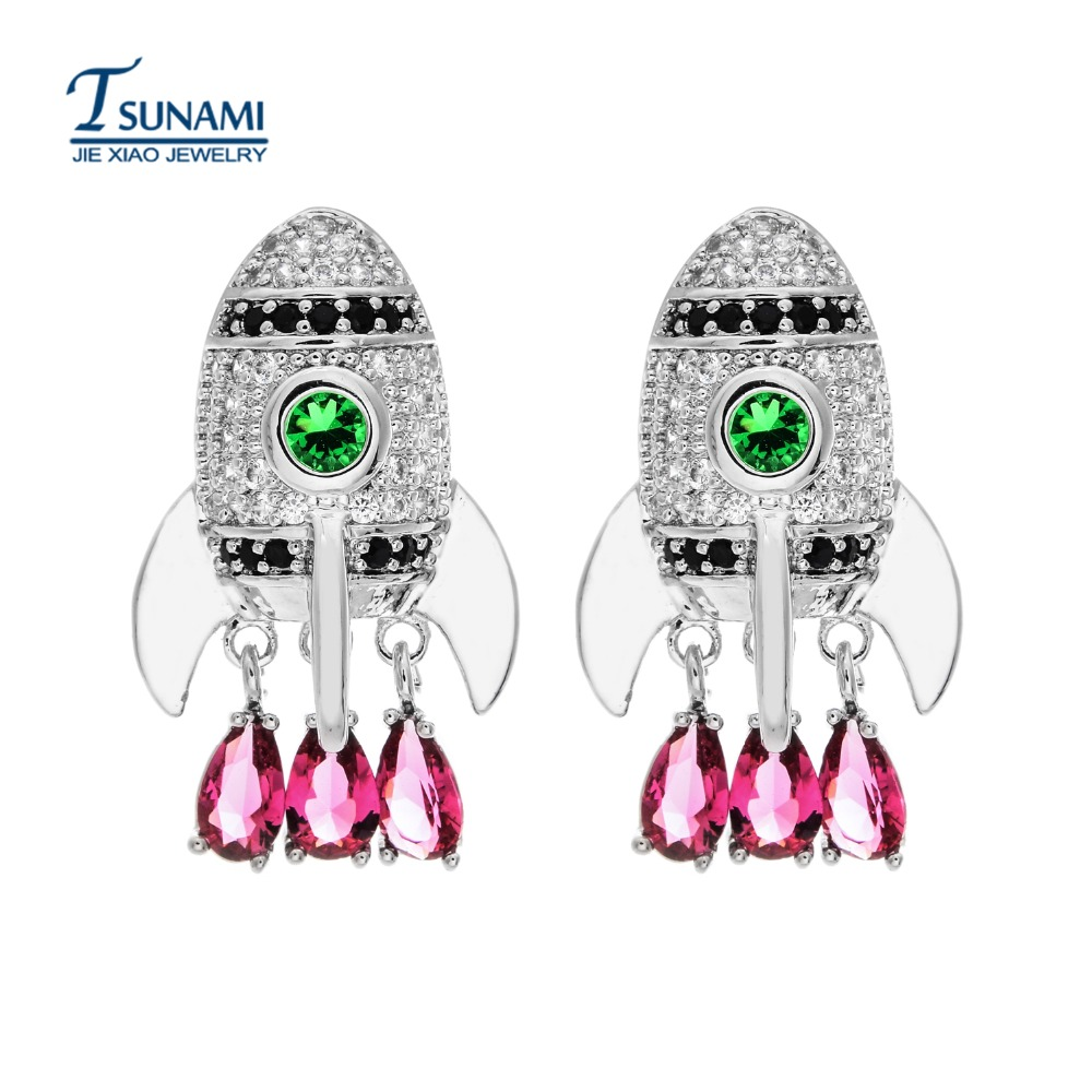 Jewelry & Accessories Sunny High Quality Aaa Rocket Colored Zircon Earrings The Perfect Clarity Of A Woman/girls Jewelry Er-097