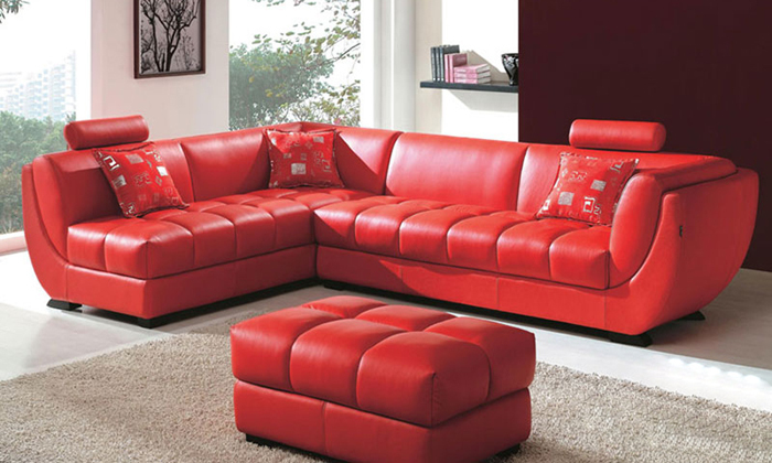 US $1899.0 |Free Shipping Classic european style Cattle Leather Passion red  corner Sofa with ottoman living room furniture sets LC9103-in Living Room  ...