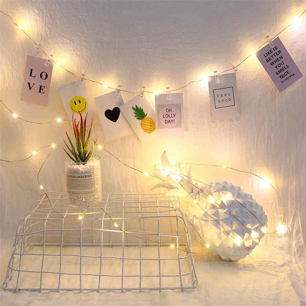 33Ft 100led Foto Klip Lampu LED String Lampu Baterai atau USB DC 5V Liburan Natal Pesta Pernikahan Dekorasi Peri lampu