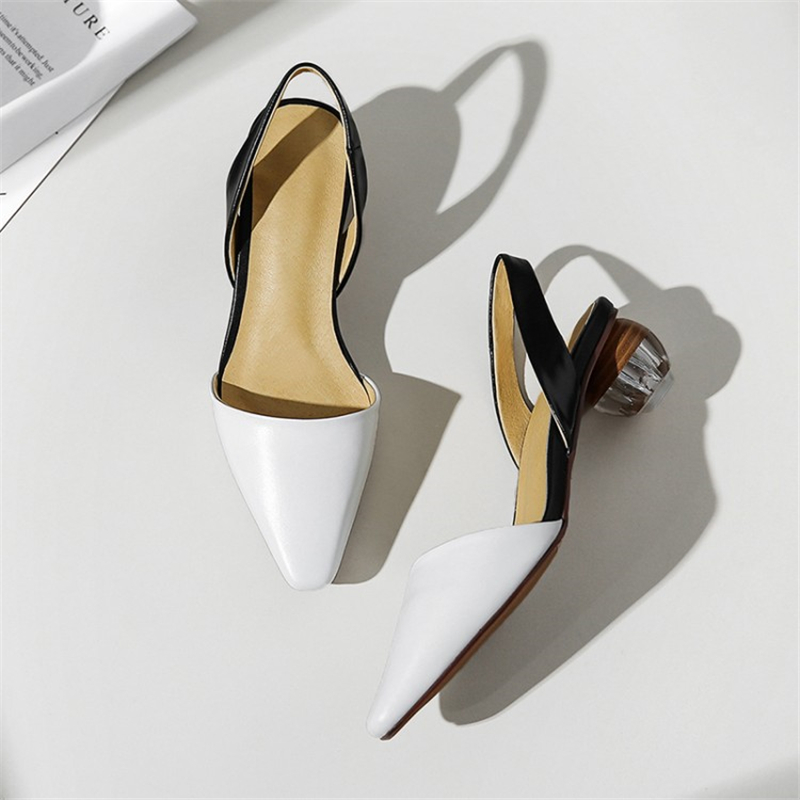 Ouqinvshen Yellow Rhinestone Sandals Plus Size Genuine Leather Solid Strange Style Summer Shoes Women Pointed Toe Heel Sandals