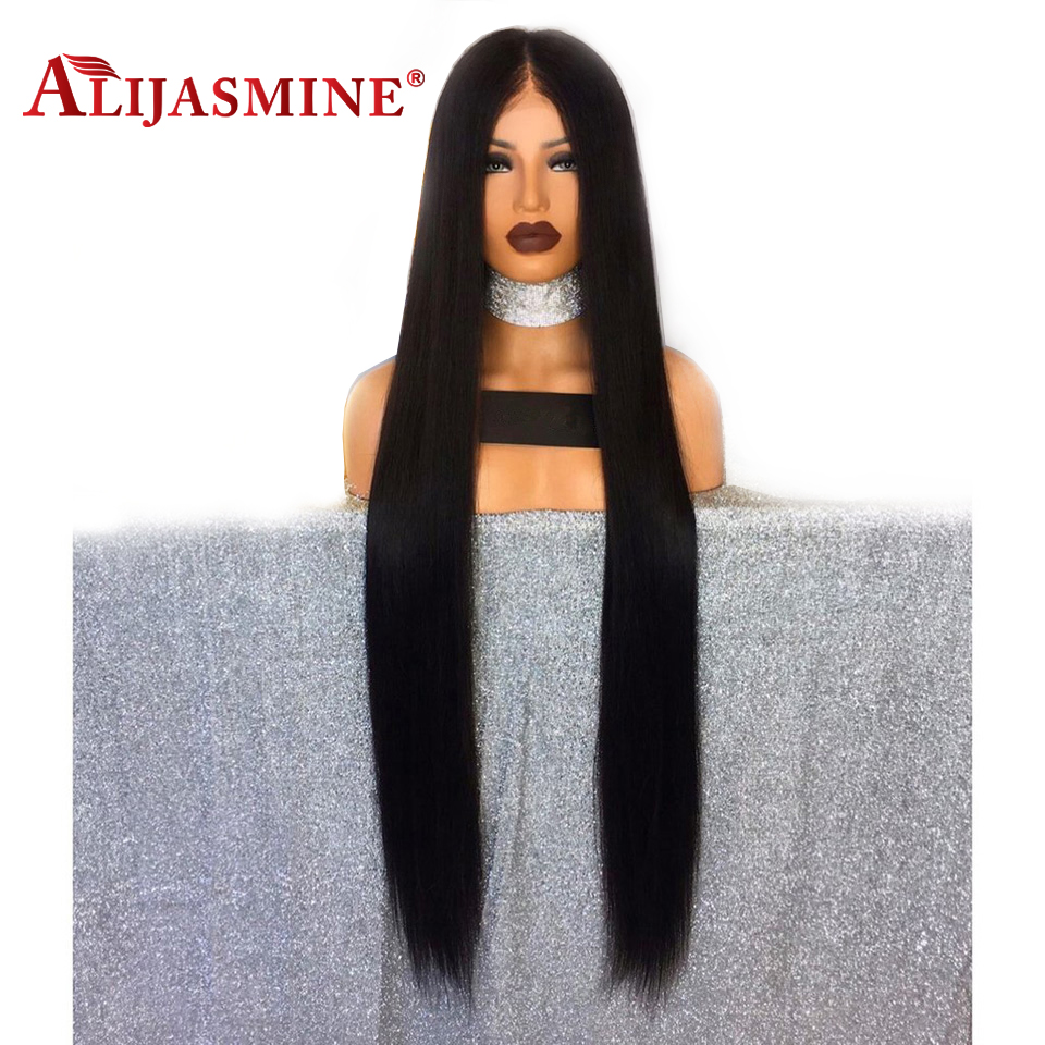 30Inch Long Lace Front Human Hair Wigs Straight Pre Plucked With Baby Hair Natural Color Peruvian