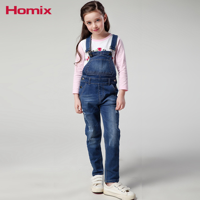 ee276a76f268 3T-10T Girls Denim Dungarees Kids Overalls Jumpsuits Jeans Trousers  Children Clothes Kids Clothing