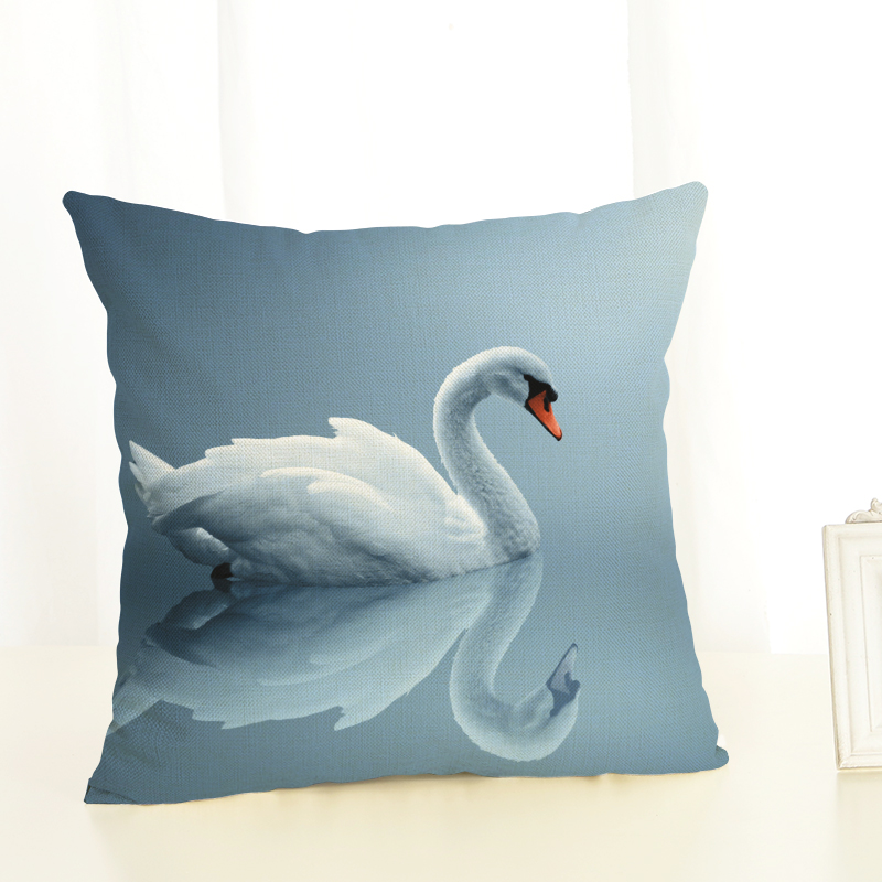 cisne hermoso lino funda de almohada fundas de colchn tejido pug silla del asiento de