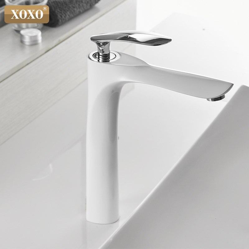 XOXO robinets de bassin froid et chaud mitigeur monotrou noir blanc or mitigeur pour salle de bains robinets évier 20055-1 - 3