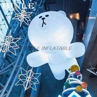 Attractive Christmas stage 3m giant white hanging inflatable bear with led lights for party ceiling decoration