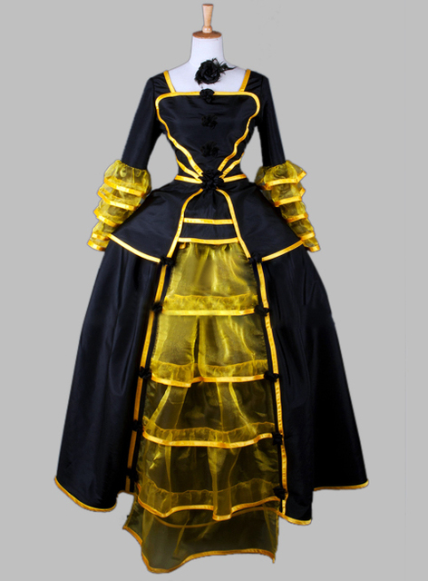Luxury Noble Black And Yellow Gothic Victorian Era Dress Ball Gown