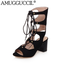 2017 New Plus Big Size 32-43 Black Red Lace Up Fashion Casual Sexy Mid Heel Summer Boots Girl Female Lady Women Sandals L755