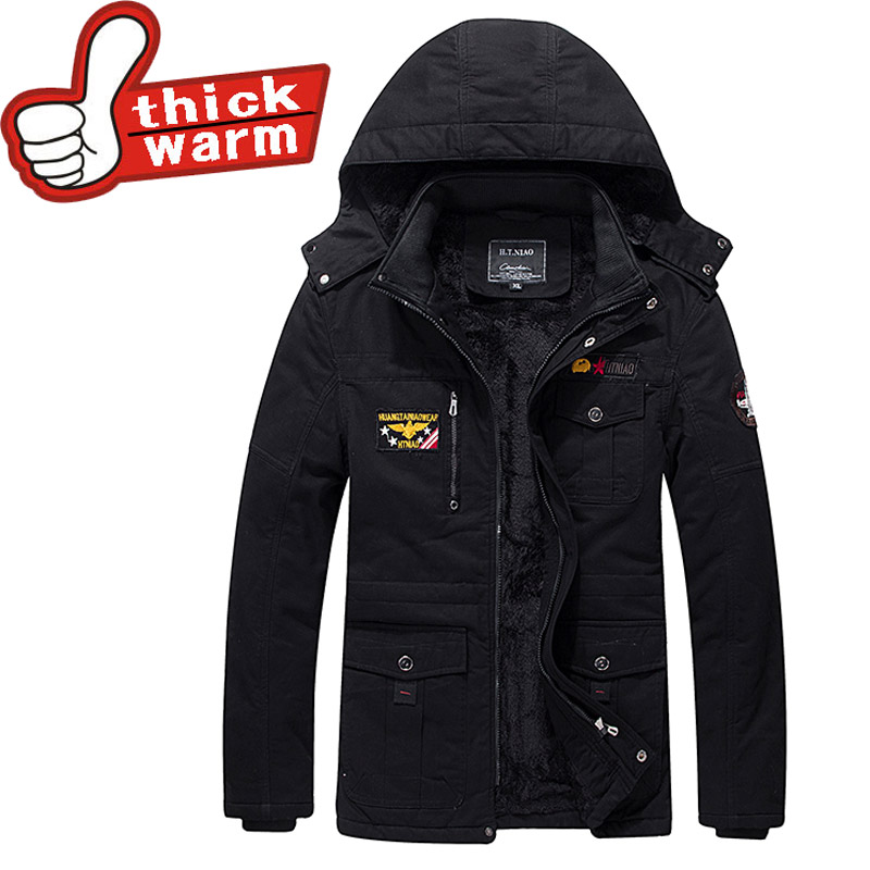 Winter Men Parkas 100%Cotton casual Jackets Man Hooded Thick Warm Outwear Overcoat Wadded Coat style Solid  brand clothing