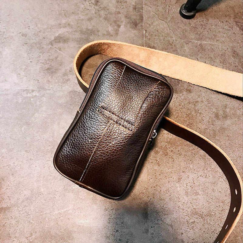 Sacos de Cintura De Couro dos homens Para 6.0 Polegada Resistente Ao Desgaste Duas Camadas Moeda Bolsa Bolso Do Telefone Móvel Macio Cinto de Cintura Ao Ar Livre pacote cinto